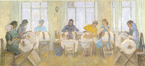"Fig.2.5. ""Ryazan lace makers"", V.V.Ageev (1980 г.)"