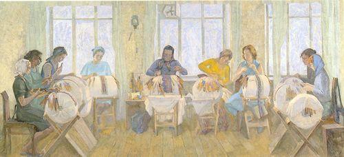 Рис.2.6. Плетение на «козлах» («Рязанские кружевницы», В.В.Агеев, 1980 г.)
