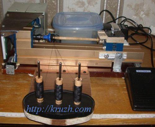 Рис.4.17. Полный набор узлов приспособления для намотки нитей на коклюшки